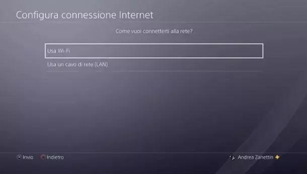 Connetti Internet PS4