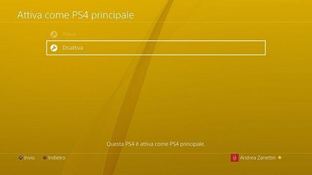 Disattiva PS4 principale