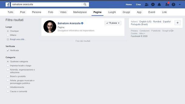 Facebook pagine
