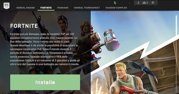 Installa Fortnite