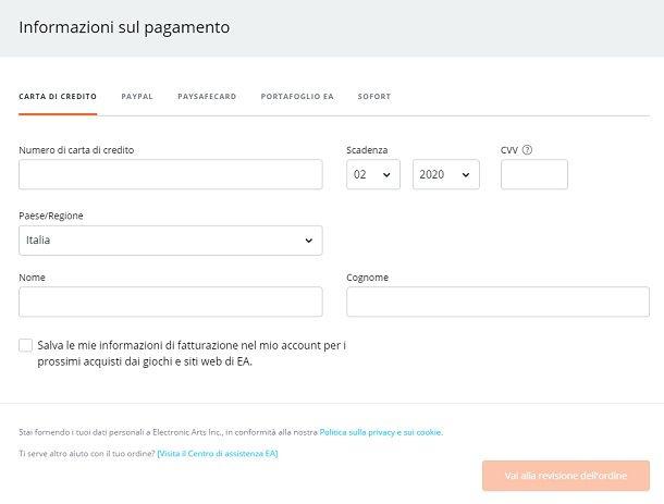 Metodi pagamento Origin