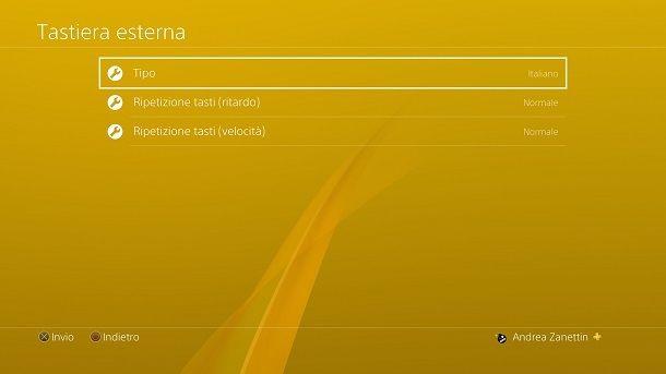 Opzioni tastiera PS4