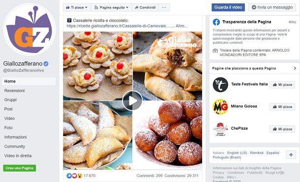 Pagine Facebook cucina