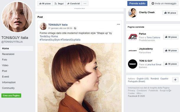 Pagine Facebook parrucchieri