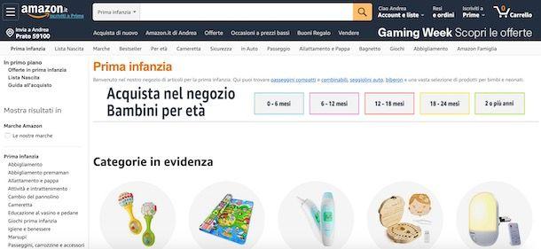 Amazon Prima infanzia
