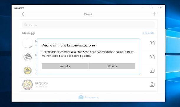 Eliminare chat Instagram da Windows 10