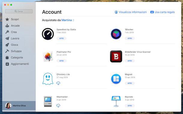 Recupero acquisti Mac App Store macOS