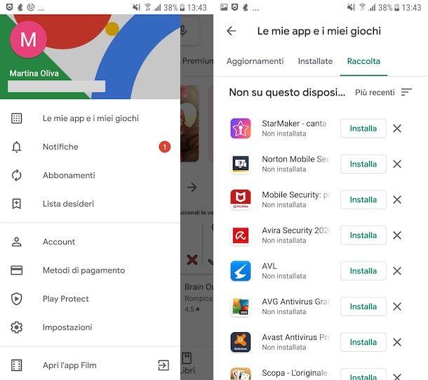 Recupero acquisti Play Store Android
