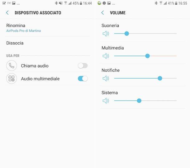 Impostazioni AirPods su Android