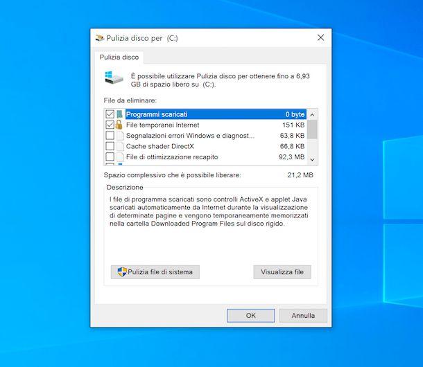 Pulizia disco Windows 10