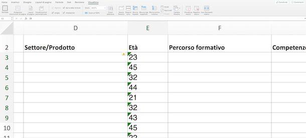 Controllo Errori in Excel