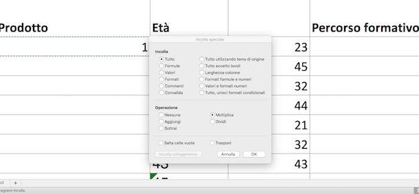 Moltiplica in Excel