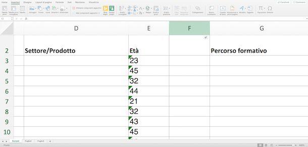 Nuova Colonna in Excel