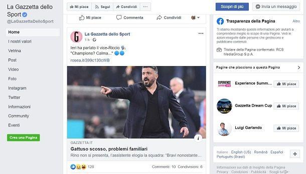 pagine facebook calcio
