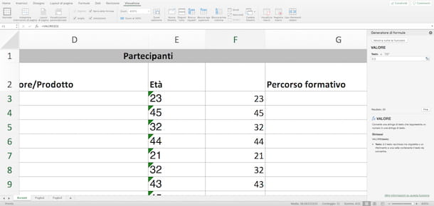Trascinare il Mouse in Excel
