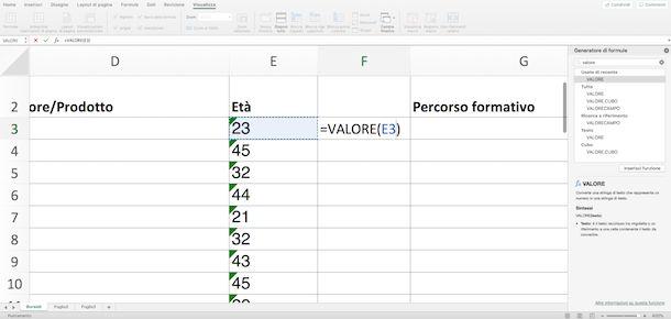 Funzione Valore in Excel