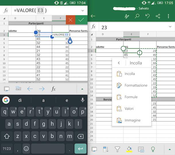 Funzione Valore in App Android