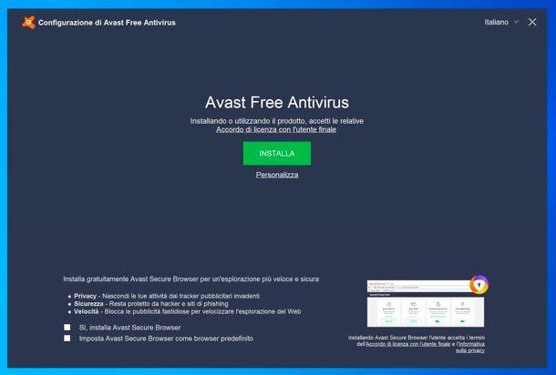 Installazione Avast Antivirus