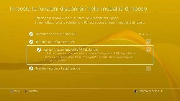 Accensione PS4 rete