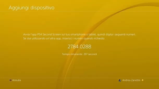 Aggiungi dispositivo PS4