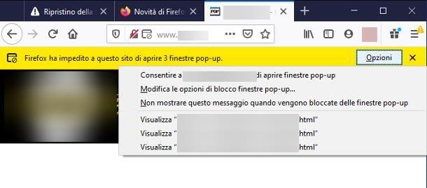 Come togliere il blocco popup su Firefox