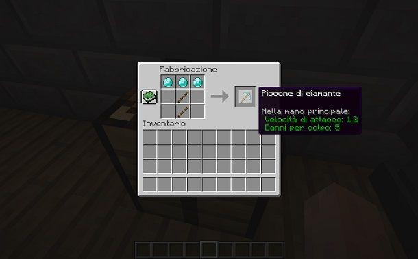 Costruire un piccone su Minecraft