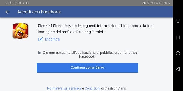 Facebook per Clash of Clans su Android