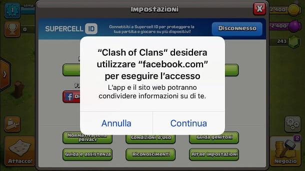Facebook per Clash of Clans su iPhone