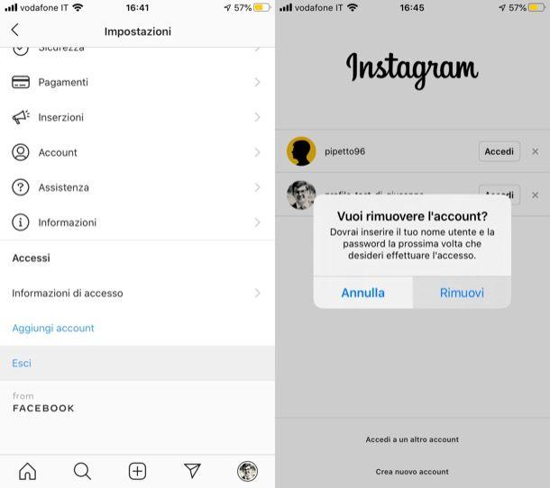 Rimuovere account Instagram da iPhone
