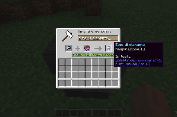 Incantare un elmo su Minecraft