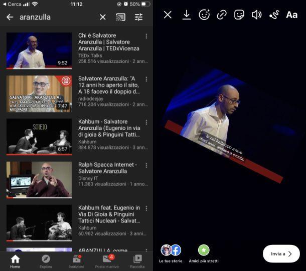 Caricare video Youtube storie Instagram iOS