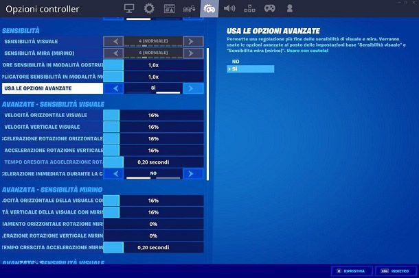 Opzioni Mira assistita Fortnite
