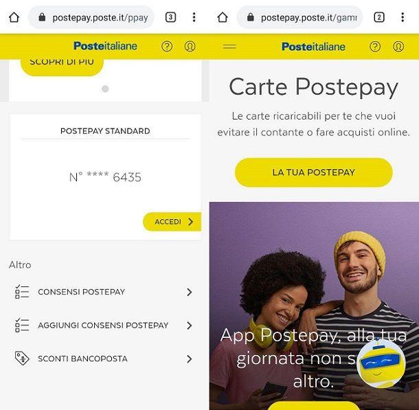 Postepay dispositivi mobili