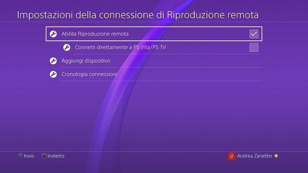 Riproduzione remota PS4