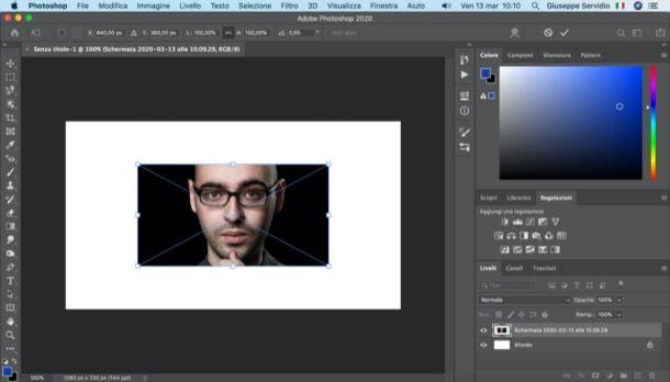 Ridimensionare immagine importata in Photoshop