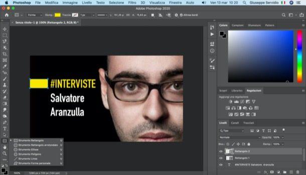 Strumento rettangolo Photoshop