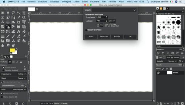 Creare un foglio con GIMP