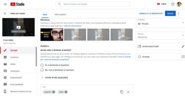 Caricare copertina video YouTube