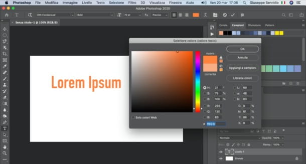 Cambiare colore scritta Photoshop