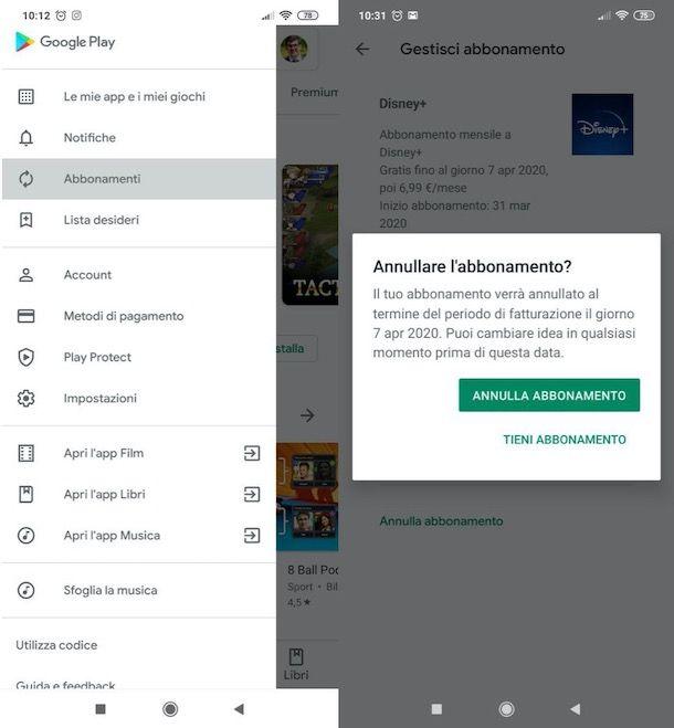 Come annullare abbonamento Android