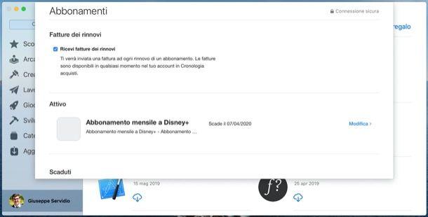 Disattivare abbonamenti Mac App Store