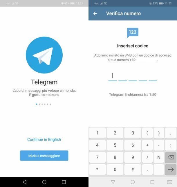 Telegram registrazione