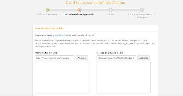 Aggiungere sito Web da affiliare su Amazon