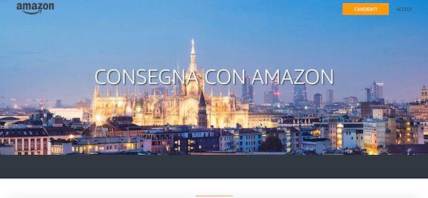 Candidarsi per diventare corriere Amazon