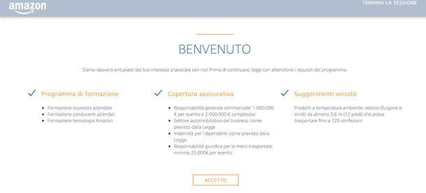 Accettare condizioni Amazon Logistics