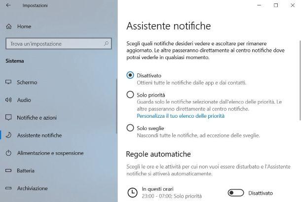 Assistente notifiche su Windows 10