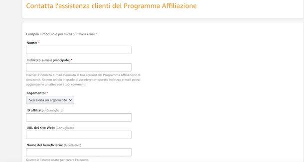 Contattare l'assistenza programma affiliazione Amazon