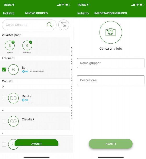 Creare gruppo su Bancomat Pay