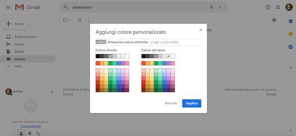 Cambiare colore etichetta Gmail