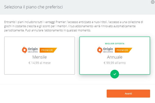Scegli se pagare mensilmente o annualmente il tuo abbonamento Origin Access